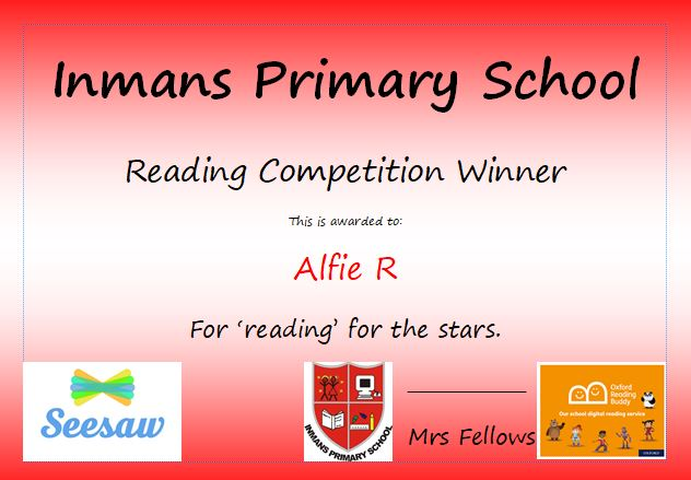 Inmans Reading Competition Winners